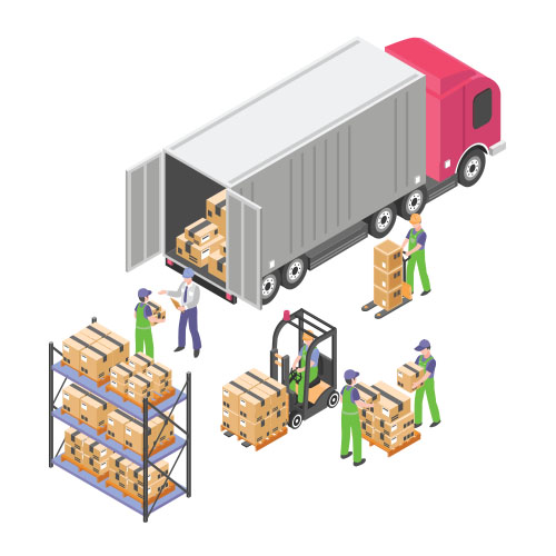 Isometric illustration demonstrating how the Fanvil i30 controls movement in a warehouse