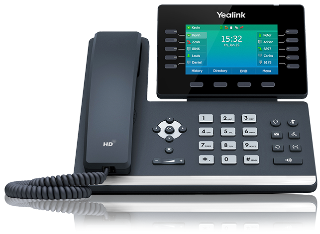 SBC Hosted solutions Yealink T54W with receiver down facing straight on and set to the main home screen display