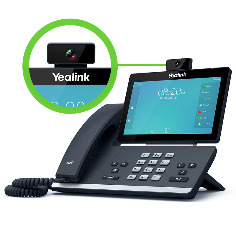 Yealink T58V with the onboard camera allowing for video calling