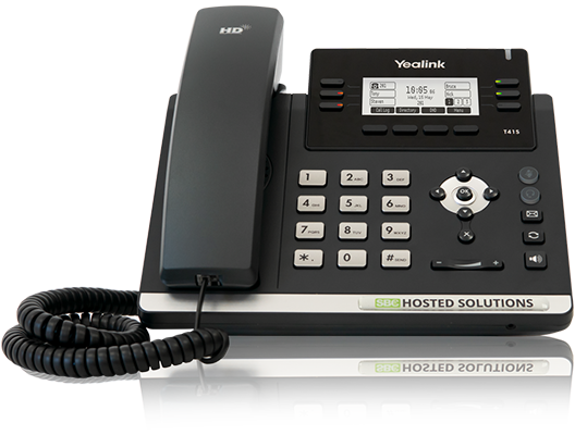 SBC Hosted Solutions branded Yealink T41S with colleagues taking calls on BLF's
